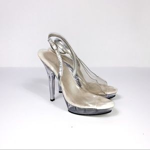 Pleaser || Bikini Competition Shoes Clear Heels 7M